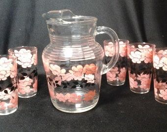 Retro Pitcher and Glasses Set, Pink and Black Floral Pitcher with Five Tumblers