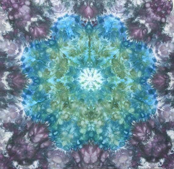 mandala tie dye tapestry or wall hanging in blue greens and. Black Bedroom Furniture Sets. Home Design Ideas