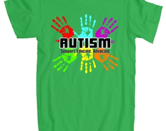 American Apparel Support Educate Advocate Autism Handprint T-Shirt