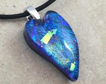 Heart Necklace, Blue Dichroic, Dichroic Pendant, Fused Glass Jewelry, Dichroic Glass Jewelry, Heart Dichroic Pendant - HEA170