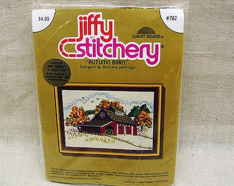 Crewel Embroidery Kit - Jiffy Stitchery  AUTUMN BARN Embroidery Kit, Vintage