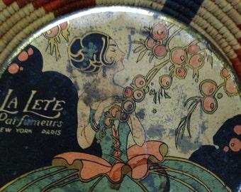 La Lete Perfumery powder tin from the 20's