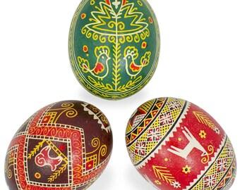 Set of 3 Decorated Animal Ukrainian Pysanky Eggs- SKU # bl-414