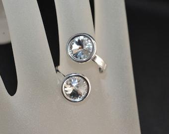 Ring 925 Swarovski crystal cabochon dual 8mm