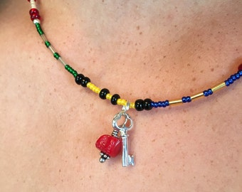 Multi-Color Key and Stone Necklace