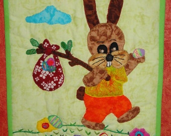 EASTER DECOR Wall Art  Father's day quilted,   easter wall hanging, wall quilt, hand quilted, easter decor, hand quilted