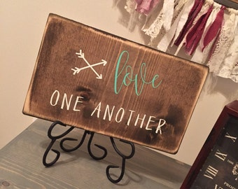 Love One Another, Wood Sign, Turquoise and White, Rustic, Distressed, Arrows, Wooden Sign
