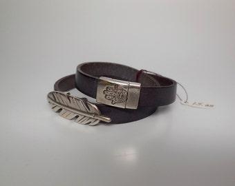 Handmade Double Wrap Leather Bracelet w/ Silver Feather Slide