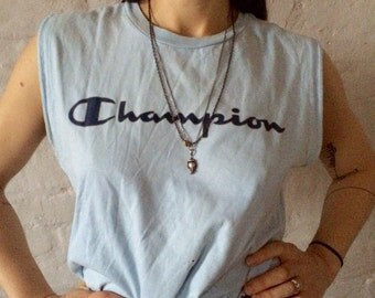 Vintage Champion Tank / Vest Light Blue Small Muscle Top