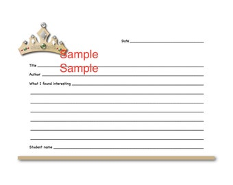 Tan Crown Book Report Form for Primary - Elementary Students
