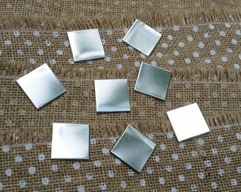 "10 Polished 1"" Inch Squares 14 Gauge 1100 Food Safe Aluminum"