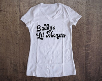Daddy's Lil Monster Shirt, Harley Quinn Inspired Shirt, Harley Quinn, Suicide Squad, Ladies V-neck