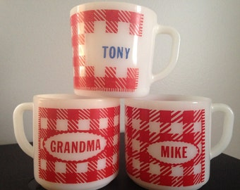 Your Choice - Vintage Milk Glass Westfield Mugs - Red Gingham Check/Tony/Mike/Grandma