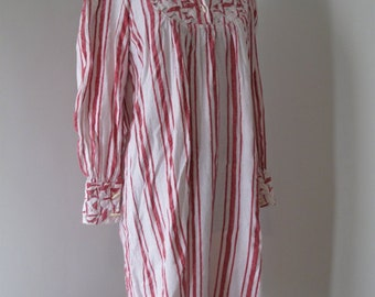 vintage indian cottonstriped dress with sleeves