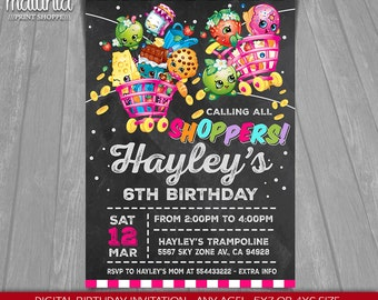 Shopkins Invitation - Shopkins Invite - Shopkins Birthday Printed or Printable Invitation - Shopkins Birthday Party - Shopkins Invite