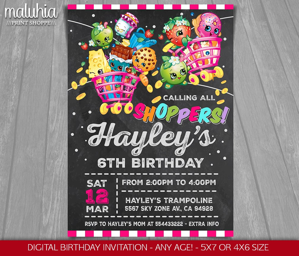 Shopkins Invitation Shopkins Invite Shopkins Birthday - Blank shopkins birthday invitations