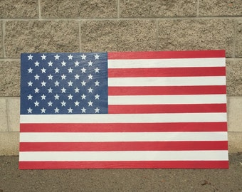 Wood Hand Painted USA American Flag