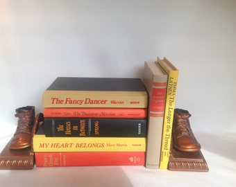 Vintage Books, Orange & Yellow Books, 1950s to 1970s, Set of 7, Play Props, Photo Props. Wedding Decor, Retro Colors, Stack Books