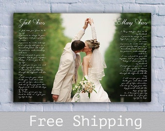 Wedding Vows Canvas - First Dance Song Lyrics Canvas - Photo on Canvas - Canvas Print -Wall Decor-1st Anniversary Gift