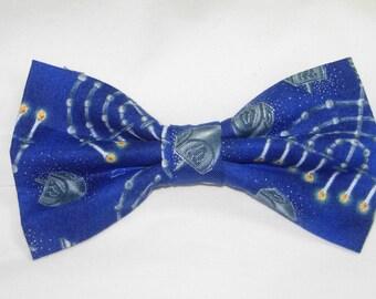 Lighted Silver Menorahs & Hanukkah Dreidels on Blue Handmade Pre-tied Bow Tie
