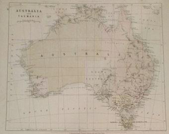 Antique Original 1858 Map of Australia by W & A.K. Johnston