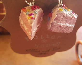 Pink cake polymer clay earrings