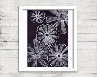 Black and White Flower Art, Trippy Line Art, Original Drawing
