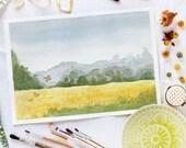 Autumnal champ - paysage imprimable numérique aquarelle art impression, décoration d'art murale, A3 et A4