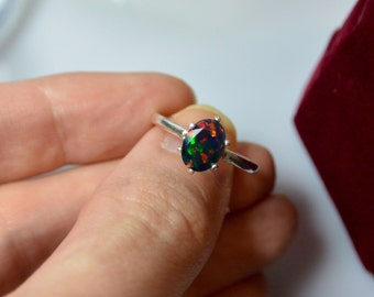 Natural Black Opal Sterling Silver ring vibrant multi color fire - the brightest opal and minimalist solitaire design, engagement ring