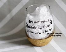 Stemless Wine Glass/Personalized Wine Glass//Dog Lover's Gift//Dog Mom Gift//Glitter Dipped Wine Glass//Glitter Wine Tumbler