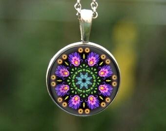 Polish folk pendant, Polish pendant, polish cutout pendant, folk mandala, violet mandala, flower mandala, mandala jewelry