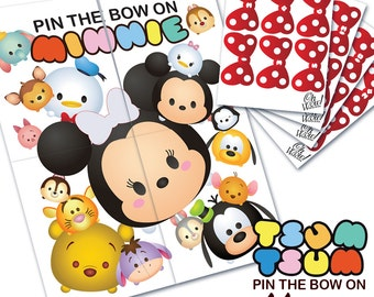 Tsum Tsum Theme: Pin the Bow on Minnie Party Game Digital File