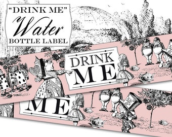 "Alice In Wonderland printable ""Drink Me"" Water Bottle labels."