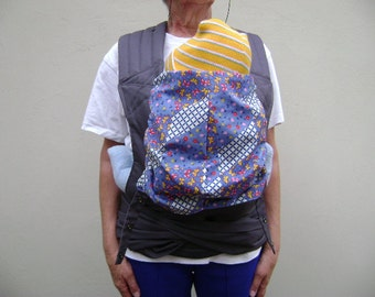 Charcoal Cotton Twill/Blue cotton print Baby Carrier