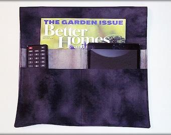 Remote Control Organizer. Bed Caddy. Cell Phone, Tablet Holder. Eye Glasses Pocket. Magazine, Book Storage. Bedside. Fabric Black Gray Grey