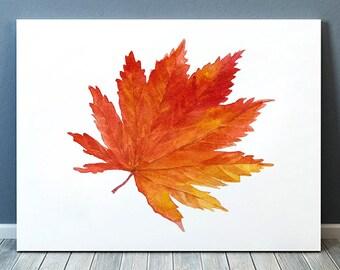 Nursery print Autumn leaf art Nature poster Watercolor print ACW367