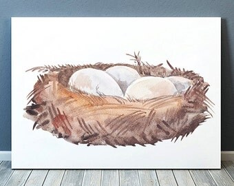 Nursery print Bird nest poster Bird print Watercolor art ACW588