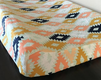 Arizona Changing Pad cover, Modern Tribal Designer Nursery, Navy, Rose, Gold, Mint Baby Bedding, Baby Girl Tribal Bedding, Arizona, Aztec