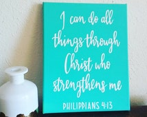 Bible Verse Wall Decor - Motivational Wall Art - Turquoise Decor - Hand Lettered Sign - Canvas Quote Art