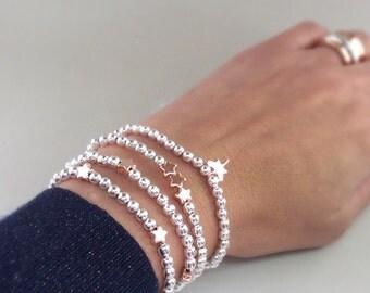 Rose Gold star Bracelet, Star bracelet, Dragonfly bracelet, star charms, stretch bracelet, stacking bracelet, Friendship Bracelet
