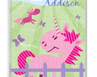 Personalized Unicorn Notebook. A cool Kids Notebook, but also a great Adult Notebook. Our Custom Notebooks make a great Birthday Gift.