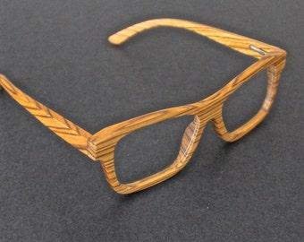 Zebra wood prescription glasses.