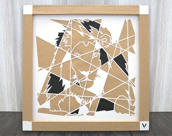Lion, paper, cut, art, shape, pattern, composition, abstracted, carving, pulp, white, frame, image, handcut, wall art, illustration, cutouts