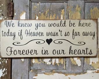 We knew you would be here today if heaven wasn't so far away rustic wood sign