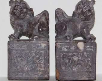 Very Beautiful Unique Old Chinese Stone Foo Dogs Statue