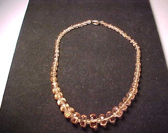 Vintage Czech glass beaded faceted choker necklace - Beautiful