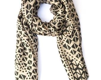 silk scarf geometric beige