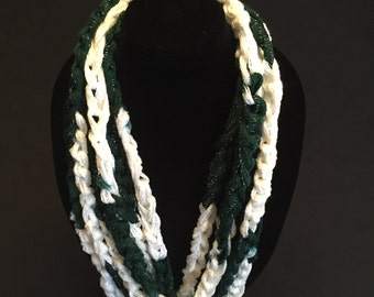 White and Green Crocheted Rope Scarf
