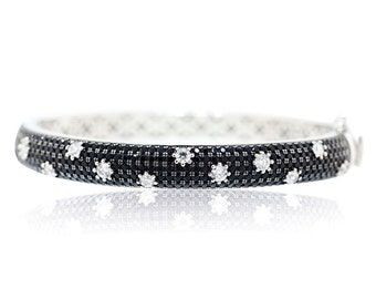 925 Sterling Silver - Black and White Cubic Zirconia Bracelet (S248)