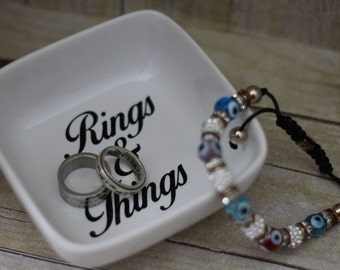 Rings & Things Dish Holder-Ring Dish-Ceramic Ring Dish-Dish ring-Square Holder-Ring Bowl-Jewelry dish-Ring Tray-Wedding Ring Dish
